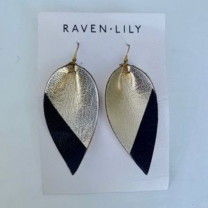 Raven + Lily Leather Leaf Earrings NWT